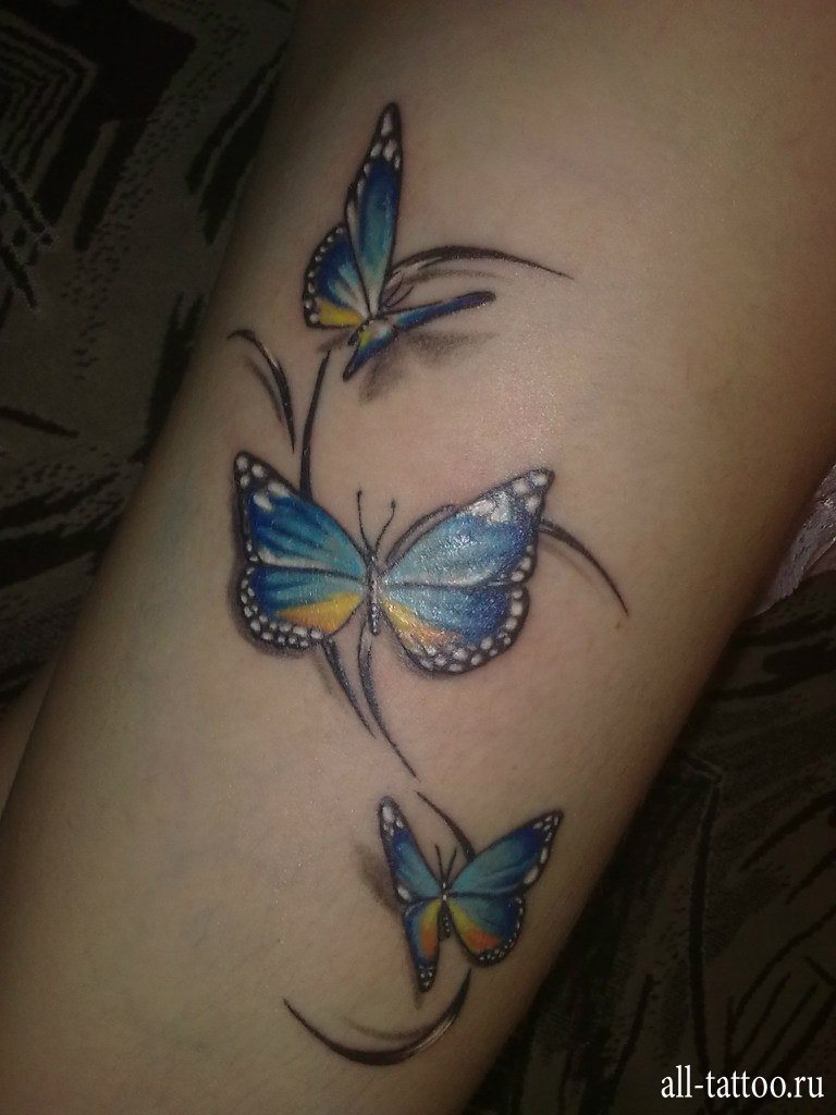 бабочки на руке тату фото