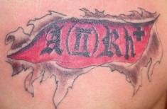 Армейская татуировка группа крови — на груди