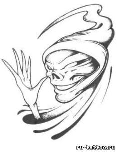Искиз татуировки «Смерть в капюшоне»