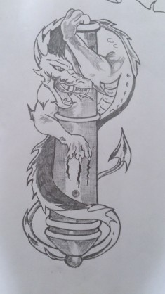 Эскиз тату «Дракон и артиллерия»