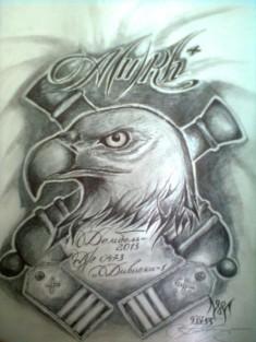 Эскиз тату на тему «Артиллерийские войска»