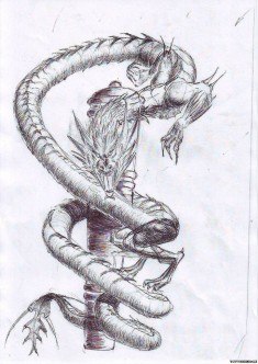 Эскиз татуировки «Дракон обвивает пушку»