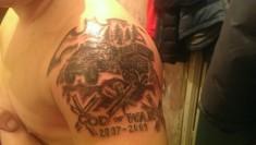 Татуировка на плече «God of war»