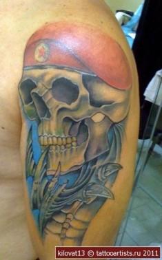 Цветная татуировка черепа на плече