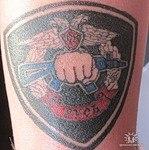 Тату на руке «Цветной герб Спецназа»