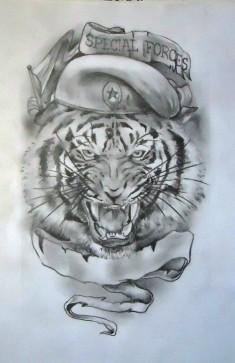 Эскиз татуировки «Тигр в берете»