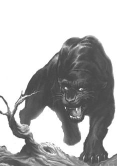 Черно-белый рисунок пантеры на дереве
