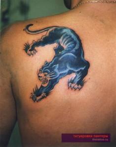 Тату на спине «Мощная черная пантера с когтями»