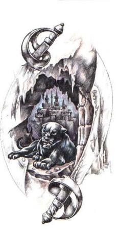 Черно-белый рисунок пантеры