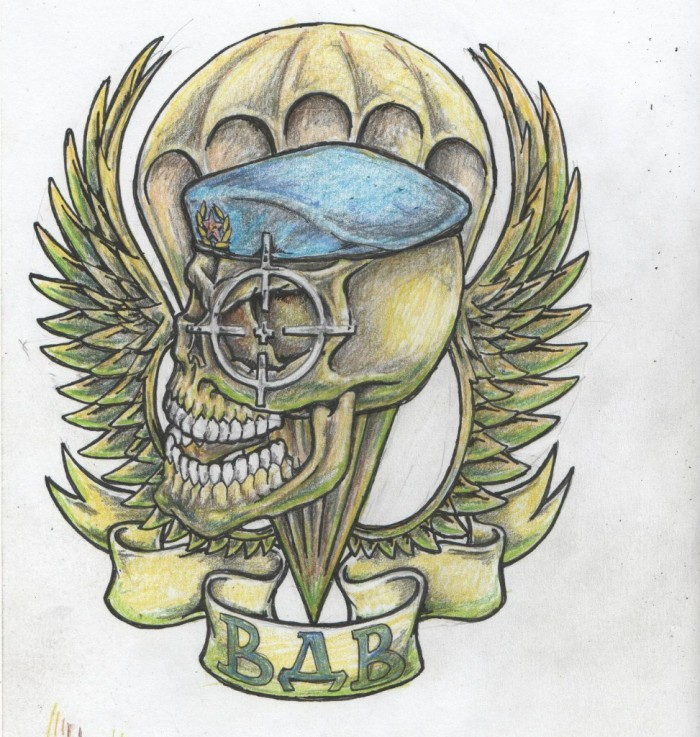 Тату черепа с крыльями на фоне парашюта