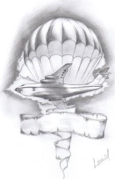 Рисунок-эскиз татуировка «Самолет, купол и лента»