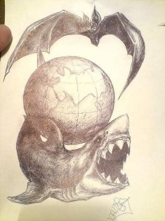 Эскиз татуировки с изображением акулы, земного шара и летучей мыши