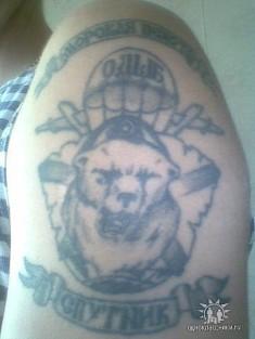 Татуировка на плече с изображением медведя и подписью «Морская пехота»