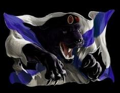 Эскиз татуировки «Черная пантера разрывает морской флаг»