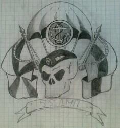 Рисунок карандашом, изображающий череп и купол парашюта