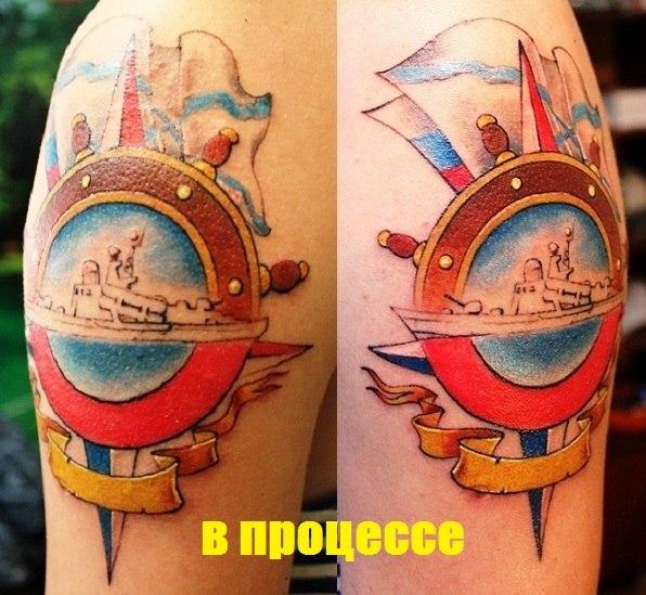 Цветная татуировка в процессе «ВМФ»